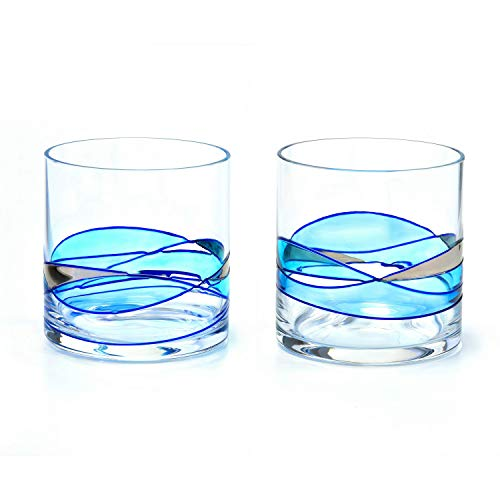 (Whiskey Glass BLUE & SILVER 12Oz Set 2 ANTONI)