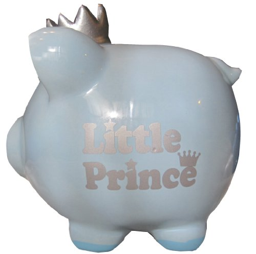 C.R. Gibson Little Prince Baby Blue Ceramic Piggy Bank Baby Gift