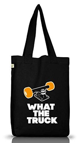 What The Truck, Skateboard Longboard Jutebeutel Stoff Tasche Earth Positive (ONE SIZE) Black