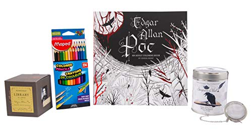 Perfect Edgar Allan Poe Gifts Set – Poe Adult Coloring Book with Triangular Colored Pencils, Poe Candle, and Poe Tea with Small Tea Infuser Ball