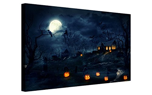 NAN Wind Golden Pumpkin Lantern Haunted Castle Haunted House in Forest Painting Halloween Wall Art Painting Pictures Festival Art Print Print On Canvas Art The Picture For Home Modern Decoration