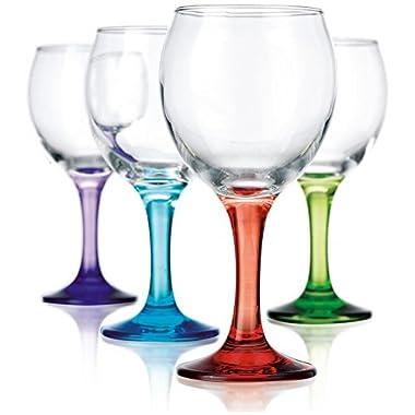 Klikel Carnival 11oz Assorted Colored Wine Glasses - Set of 8