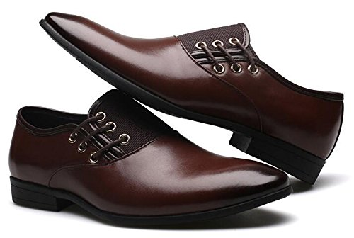 IDIFU Mens Classic Flat Low Top Slip On Oxfords Work Shoes Brown OFHvAW