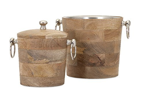 IMAX 71806-2 Makana Wood Bar Buckets (Set of 2), Natural by Imax