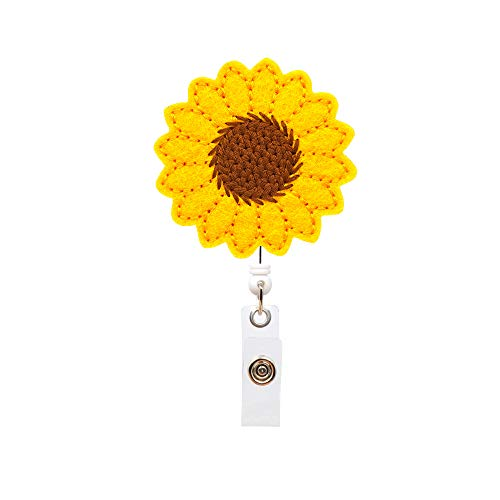 YOROYAL Sunflower Badge Reel Holder, Accurate Stitching, Reinforced Strap, Easy Retracting, Alligator Clip, Perfect Gifts for Women