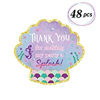 Yaaaaasss! 48pcs Mermaid Stickers Thank You Tags Goodie Bags Labels Under The Sea Themed Party Favor