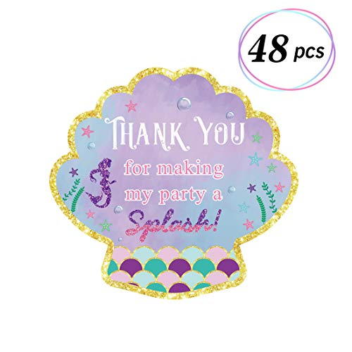 48pcs Mermaid Stickers Thank You Tags Goodie Bags Labels Under the Sea Themed Party Favor -