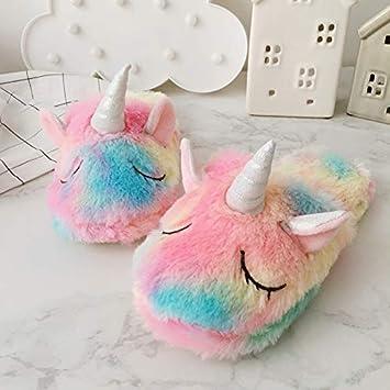 Zapatillas Unicornio Arco Iris/Zapatillas Chicas Mullidas Lindas/Zapatillas De Mujer De Interior De Felpa Acogedora/Mejores Regalos Unicornio,35/38Yards: ...
