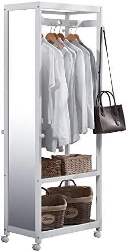 Vlush Free Standing Armoire Wardrobe Closet with Full Length Mirror, 67 Tall Wooden Closet Storage Wardrobe with Brake Wheels,Hanger Rod,Coat Hooks,Entryway Storage Shelves Organizer- White