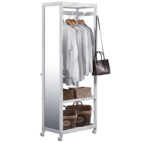 Free Standing Armoire Wardrobe Closet with Full Length Mirror, 67'' Tall Wooden Closet Storage Wardrobe with Brake Wheels,Hanger Rod,Coat Hooks,Entryway Storage Shelves Organizer-Ivory White (Wardrobe White Armoire)
