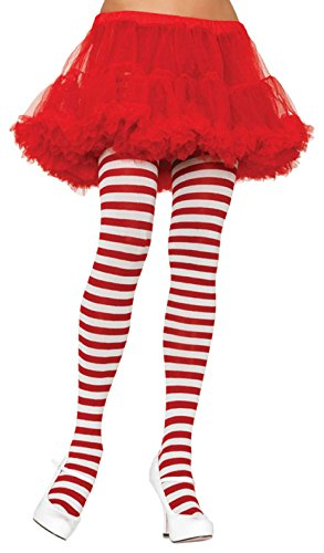 Leg Avenue Women's Nylon Striped Tights, White/Red, One Size (Red And White Stripped Tights)