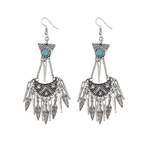 G&T Women's Vintage Turquoise Fringed National Style Earrings Exaggerated Jewelry(C1) - Egypt National Costume Pictures