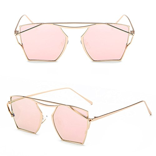 Tangc Vintage Retro Women Men Fashion Glasses Eyewear Mirror Lens Cat Eye Sunglasses (rose gold, - Sunglasses Red X Men