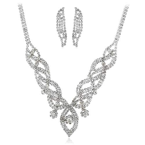 Jaiconfiance Necklace and Earrings Jewelry Set Silver Bridal Jewelry Set, Crystal Wedding Pendant Earrings and Bridesmaid Necklace Gift Wedding Gifts Bridal Wedding Party Dress Accessories