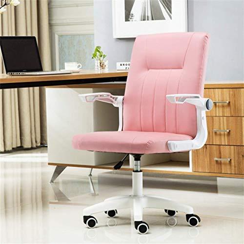Stol möbler kontor fuskläder svängbart skrivbord med justerbart armstöd, ergonomisk rosa PU mitten av ryggen dator