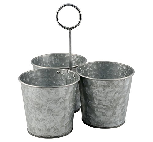 Rustic Iron Bucket Planter Set of 3 Attached with Handle Flower Plant Pot Container Home Garden Accessories (Flower Bucket Stand)