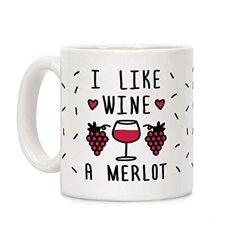 summer-M I Like Wine A Merlot White 11 Ounce Ceramic Coffee Mug ()