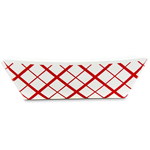 1 lb Heavy Duty Disposable Red Check Paper Food Trays Grease Resistant Fast Food Paperboard Boat Basket for Parties Fairs Picnics Carnivals, Holds Tacos Nachos Fries Hot Corn Dogs [250 Pack] by Fit Meal Prep (Image #2)