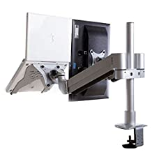 """MULUX M201 2-in-1 Full Motion Dual Arm Desk Monitor Laptop Mount Stand Fits 15""""-30"""" Computer Monitor and Laptop"""