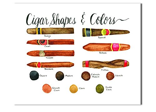 Acid Cigars (Cigar Shapes and Colors Field Guide art print, Man cave or Bar wall decor, From original watercolor and ink painting)