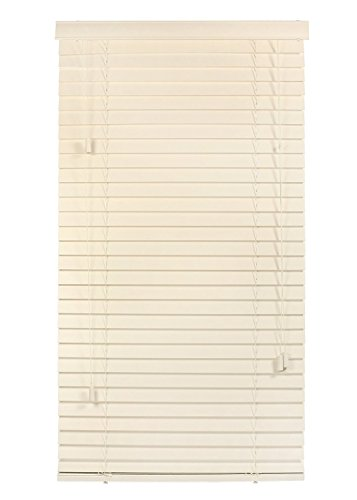 """Luxr Blinds Custom-Made 100% Real Wood 2"""" Slats Venetian Blinds: Easy-Mount Horizontal Window Treatment with Magnetic Valences- 70""""X50"""" Length, Oyster White"""