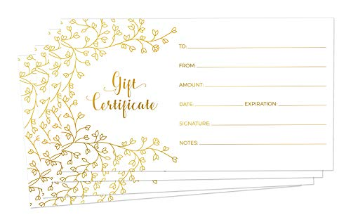 Blank Gift Certificates for Business - 25 Gold Foil Gift Certificate Cards with Envelopes for Spa, Salon, Restaurants, Custom Client Vouchers for Birthday, Work Gift Card