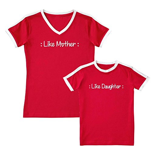 (We Match!! - Like Mother Like Daughter (Hearts) - Matching Women's Soccer Ringer T-Shirt & Kids T-Shirt Set (2T, Women's 2XL, Red, White Print))