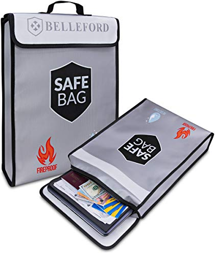 Fireproof Document Bags - Fire Safe Box Bag - Jewelry Money Cash File Storage Holder Boxes Organizer Tool - Hide Key Dollar Items in Small Wall Safes for Home Fires - Hidden Photo Zipper Binder Tote (Best Hidden Home Safe)