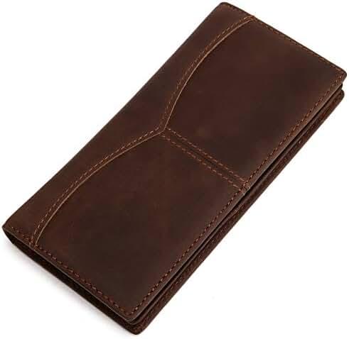 Elfish Men's Genuine Crazy Horse Leather Long Bifold Wallet Brown