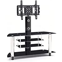 Hodedah TV Stand with Swivel Mount & Four Tempered Glass Shelves, Accommodates TVs up to 60, Black