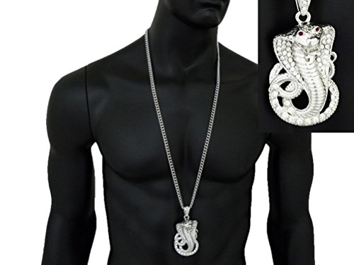 """Letter Love Fashion Crystal Red Eye Cobra Snake Pendant W/6Mm 36"""" Cuban Chain Hip Hop Necklace"""