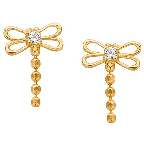 14k Yg Dangle - Dragonfly CZ Dangle 14K Yellow Gold Screw Back Stud Earrings