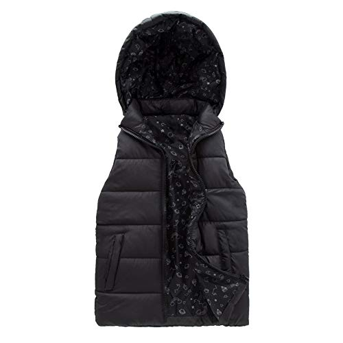 - SNOW DREAMS Girls Quilted Puffer Vest Universe Print Lined Zip Up Hood Jacket Black Size 10