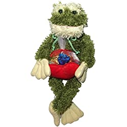 "Marble the Frog 16"" Stuffed Plush Toy with Heart and Heart Shaped Chocolate Candies Valentine's Day Gift Set"