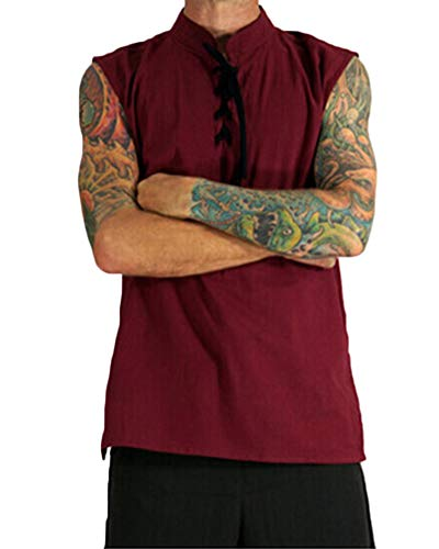 Men's Medieval Standing Collar Lace Open Renaissance Sleeveless Waistcoats Vests Costumes Wine Red L