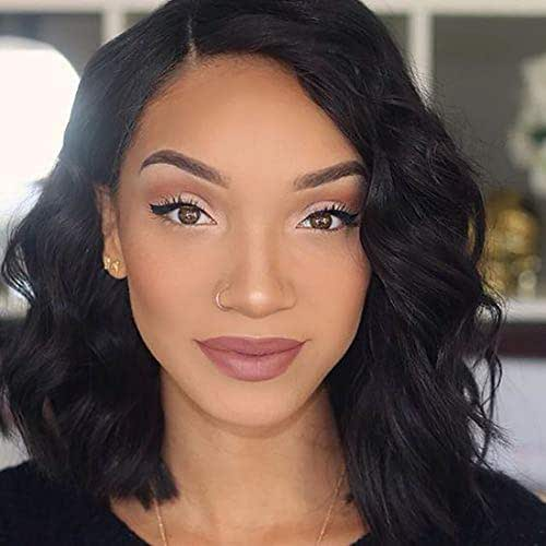 130% Pre Plucked Lace Frontal Wigs With Brazilian Virgin Human Hair Wavy Bob Style Wigs For Black Women (10