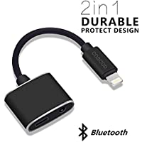 COSCOD iPhone 7 Lightning Adapter 2 Lightning Port Bluetooth Audio and Charger for iPhone 7 Plus iOS 10.3 With Music Control & Phone Call Communication - Fcm Black