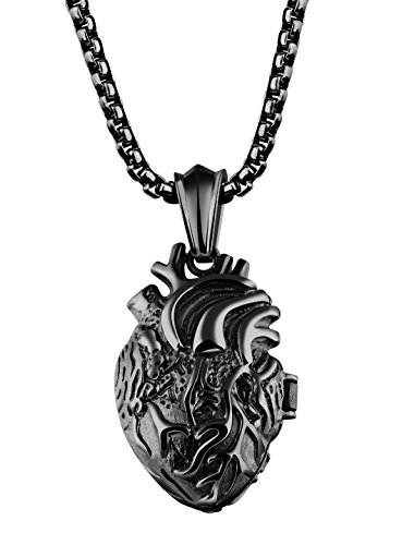 Rinspyre Men's Women's Stainless Steel Medical Anatomical Human Heart Pendant Couples Necklace Black Big (Big Locket)