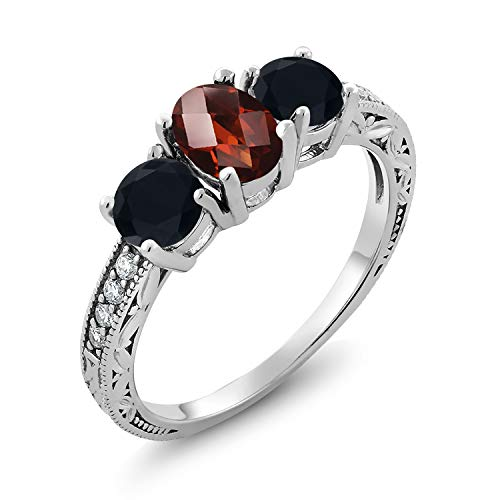 (Gem Stone King 2.04 Ct Oval Checkerboard Red Garnet Black Onyx 925 Sterling Silver Ring (Size 6))