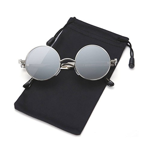 Steampunk Sunglasses Round Metal Gothic Hippie Shades for Men and Women LOOKEYE, Sliver and Sliver - 2018 Sunglasses Mirror