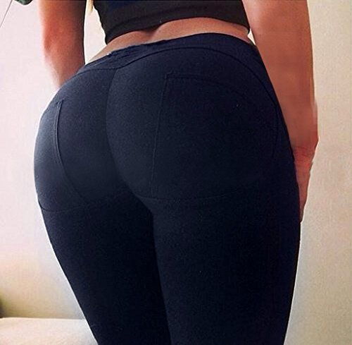 Tongshi Las mujeres de baja cintura cadera Sexy Push Up Leggings Jeggings gótico polainas Azul