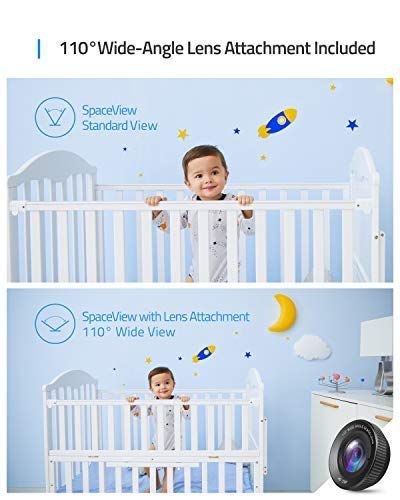 """Baby Monitor, eufy Security SpaceView Video Baby Monitor, Ideal for New Moms, 5"""" LCD Display, 110° Wide-Angle Lens Included, 720p HD Resolution, Night Vision, Day-Long Battery by eufy (Image #3)"""