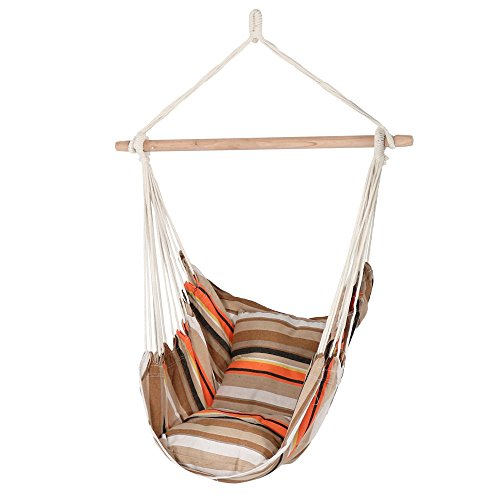 Sunnydaze Hanging Hammock Chair Swing, Beach Sunrise, for Indoor or Outdoor Use, Max Weight: 264 pounds, Includes 2 Seat Cushions by Sunnydaze Decor