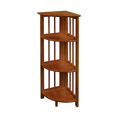 - Yu Shan 4 Shelf Corner Bookcase, Honey Oak