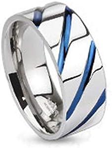 Bungsa Titan Ring Silber Blau Titanium Ring mit Blauen Streifen für Damen & Herren Silber Blauer DamenringHerrenring SCHMUCKRING für Frauen &