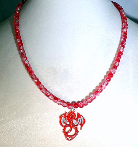Red and silver stardust dragon and red crystalline glass beaded necklace (1640)