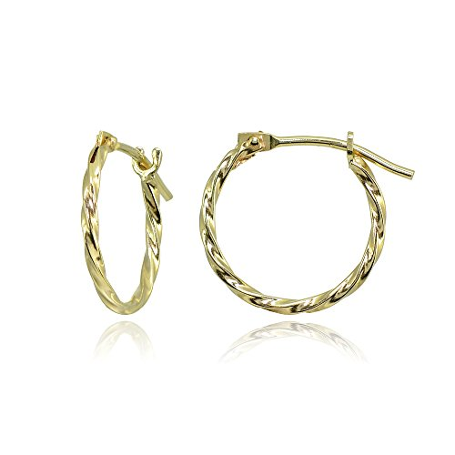 (14K Yellow Gold Tiny Small 12mm High Polished Twist Thin Lightweight Unisex Hoop Earrings)
