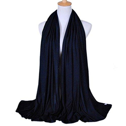 LMVERNA women muslim jersey scarf hijab cotton popular scarves fashion long scarf (Navy (Navy Blue Jersey Scarf)