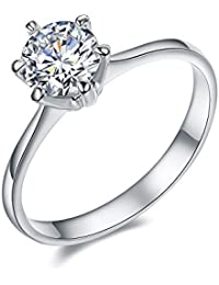 Serend 18k White Gold Plated 1 Carat Round Cubic Zirconia Solitaire Wedding Engagement Rings, Size 4 to 9