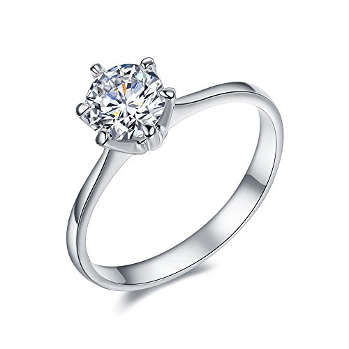 (SPILOVE Serend 18k White Gold Plated 1 Carat Round Cubic Zirconia Solitaire Wedding Engagement Band Rings, Size 5.5)